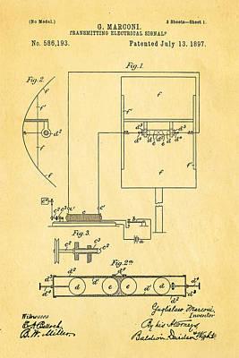 Marconi Radio Patent Art 1897 Poster by Ian Monk