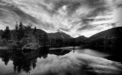 Marcy Dam Pond Black And White Poster by Joshua House
