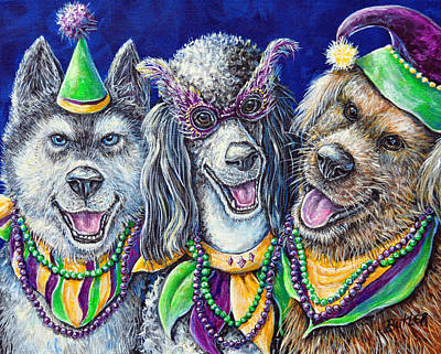 Mardi Gras Party Pups Poster by Gail Butler
