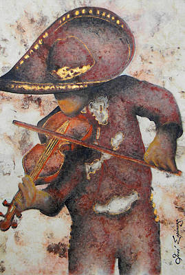 Tree Bark Poster featuring the painting Mariachi I by Jose Espinoza