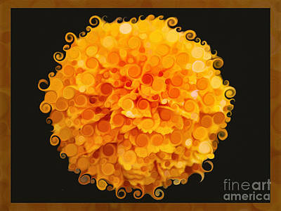 Marigold Magic Abstract Flower Art Poster by Omaste Witkowski