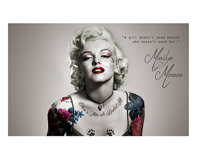 Marilyn monroe tattoos posters for sale for Marilyn monroe with tattoos poster