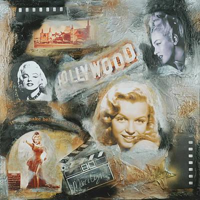Marilyn Monroe Hollywood Sign Original Painting Hollywood Regency Fine Art Decor By Artdestiny Poster by Michele Morata
