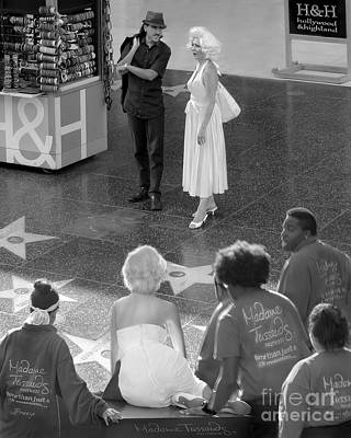 Marilyn Monroe On Hollywood Blvd.bw Poster by Jennie Breeze