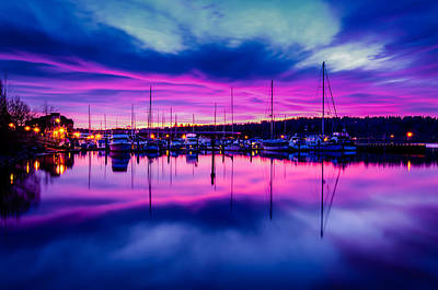 Marina Dockside Sunrise Poster by Puget  Exposure