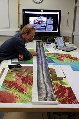 Marine Geologist Studying Seafloor Map Poster by B. Murton/southampton Oceanography Centre