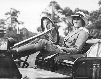 Marion Gaynor At The Wheel Poster by Underwood Archives