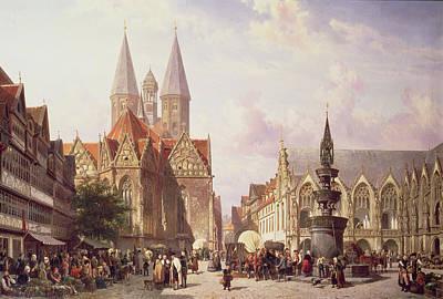 Market Scene At Braunschweig Poster by Cornelius Springer