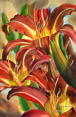 Maroon And Gold Lilies Poster by Sharon Freeman