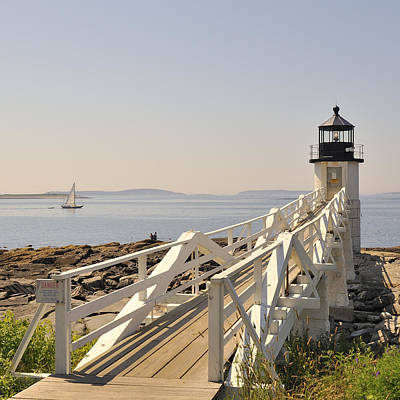 Marshall Point Lighthouse Port Clyde Maine With Sailboat Poster by Marianne Campolongo