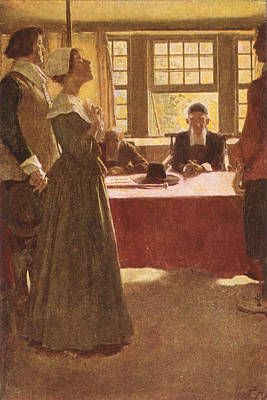 Mary Dyer Brought Before Governor Endicott, Illustration From The Hanging Of Mary Dyer By Basil Poster by Howard Pyle