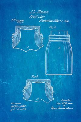 Mason Fruit Jar Patent Art 1870 Blueprint Poster by Ian Monk