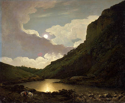 Matlock Tor By Moonlight  Poster by Joseph Wright of Derby