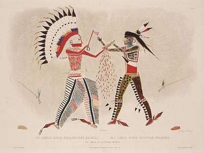 Mato-tope's Representation Of A Single Combat In Which He Was Engaged Poster by Karl Bodmer
