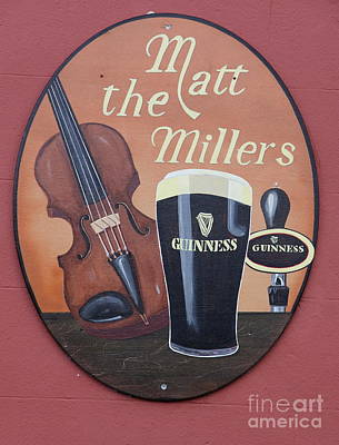 Matt The Millers Pub Sign Poster by Christiane Schulze Art And Photography