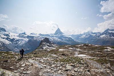 Matterhorn In Summer With Hiker Zermatt Switzerland Poster by Matteo Colombo
