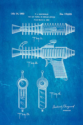 Maywald Toy Cap Gun Patent Art 1953 Blueprint Poster by Ian Monk