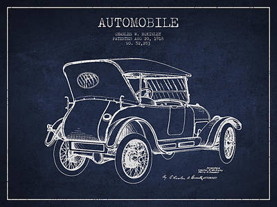Mckinley Automobile Patent Drawing From 1918 - Navy Blue Poster by Aged Pixel