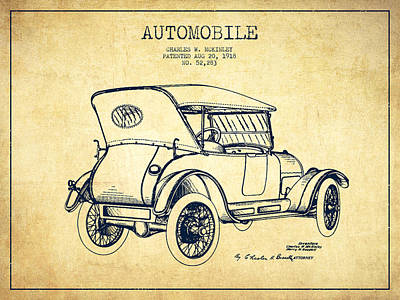 Mckinley Automobile Patent Drawing From 1918 - Vintage Poster by Aged Pixel