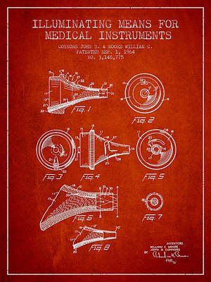Medical Instrument Patent From 1964 - Red Poster by Aged Pixel