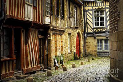 Medieval Street In Rennes Poster by Elena Elisseeva