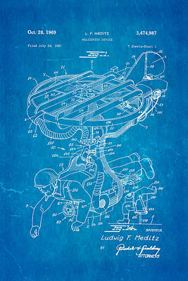 Meditz Helicopter Device Patent Art 1969 Blueprint Poster by Ian Monk