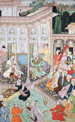 Meeting Between Babur And Bedi Az Zaman Mirza, 16th-17th Century Gouache On Paper Poster by Indian School