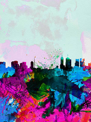 Melbourne Watercolor Skyline Poster by Naxart Studio
