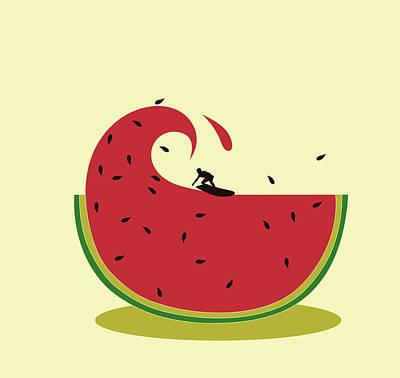 Melon Splash Poster by Neelanjana  Bandyopadhyay