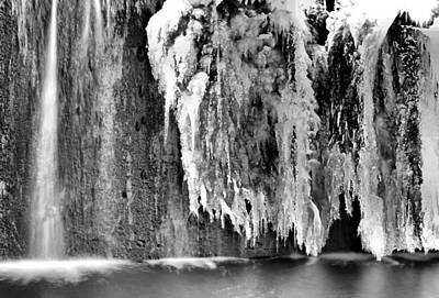 Melting Waterfall In Black And White Poster by Dan Sproul