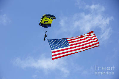 Member Of The U.s. Navy Parachute Team Poster by Michael Wood