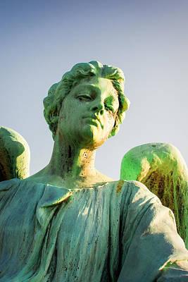 Memphis Elmwood Cemetery - Patinated Angel Poster by Jon Woodhams