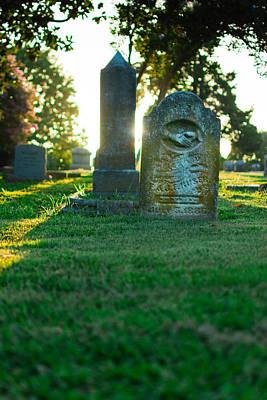 Memphis Elmwood Cemetery - Backlit Grave Stones Poster by Jon Woodhams