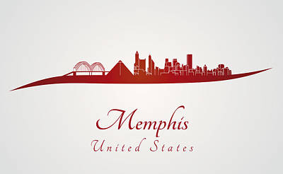 Memphis Skyline In Red Poster by Pablo Romero