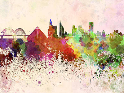 Memphis Skyline In Watercolor Background Poster by Pablo Romero