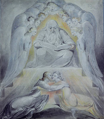 Mercy And Truth Are Met Together, Righteousness And Peace Have Kissed Each Other Poster by William Blake