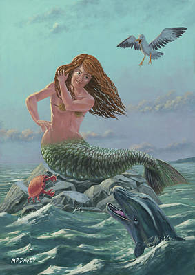 Mermaid On Rock Poster by Martin Davey