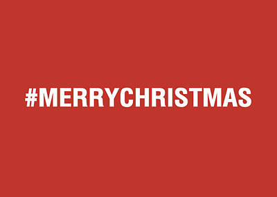 Merry Christmas Hashtag Poster by Linda Woods