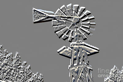 Metal Print Of Old Windmill In Gray Color 3009.03 Poster by M K  Miller