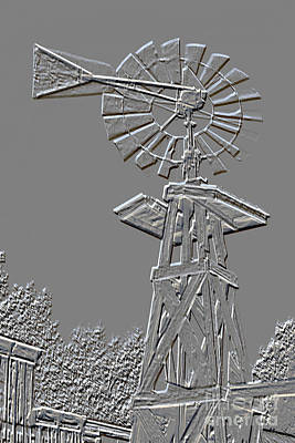 Metal Print Windmill Antique In Gray Color 3005.03 Poster by M K  Miller