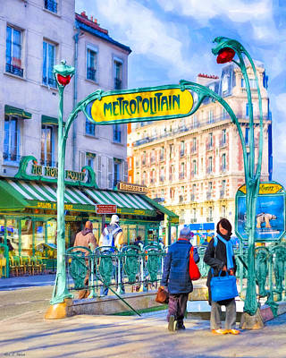 Metropolitain - Parisian Subway Street Scene Poster by Mark E Tisdale