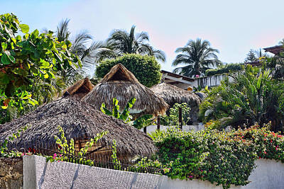 Mexican Thathed Roofs Poster by Linda Phelps
