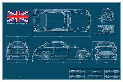 Mgb Gt Blueplanprint Poster by Douglas Switzer