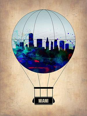 Miami Air Balloon Poster by Naxart Studio