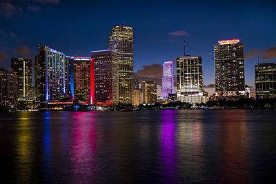 Miami At Night  Poster by Frank Molina