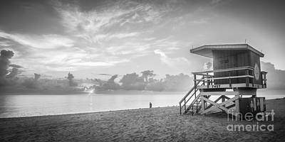 Miami Beach - 74th Street Sunrise - Panoramic - Black And White Poster by Ian Monk