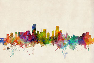 Miami Florida Skyline Poster by Michael Tompsett