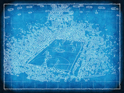 Miami Heat Arena Blueprint Poster by Joe Myeress