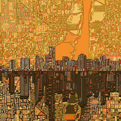 Miami Skyline Abstract 5 Poster by Bekim Art