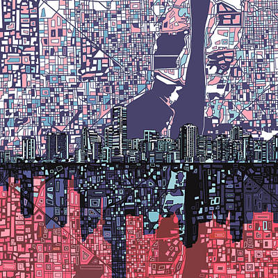 Miami Skyline Abstract Poster by Bekim Art